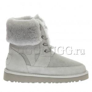 Женские ботинки угги на шнуровке светло-серые UGG Liana Boot Grey Violet