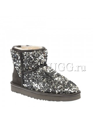 Женские мини угги с пайетками серые UGG Mini Sparkles Mirakle Grey