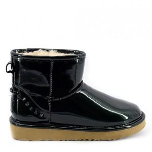 Мини угги лаковые черные UGG Jimmy Choo Mini Spikes Black