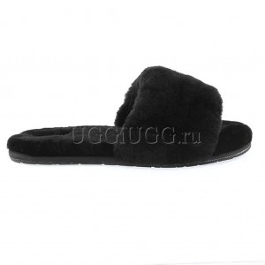 Тапочки угги открытые черные UGG Fluff Slide Black