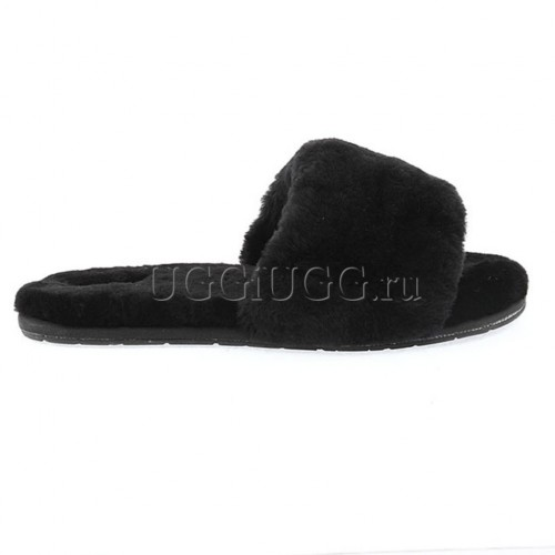 Тапочки угги черные открытые UGG Fluff Slide Black