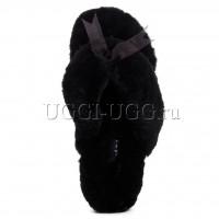 Тапочки угги шлепанцы черные UGG Fluff Flip Flop Black