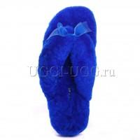 Тапочки угги шлепанцы ярко-синие UGG Fluff Flip Flop Electric Blue