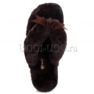 Тапочки угги шлепанцы коричневые UGG Fluff Flip Flop Chocolate