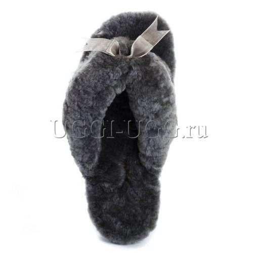 Тапочки угги шлепанцы серые UGG Fluff Flip Flop Grey