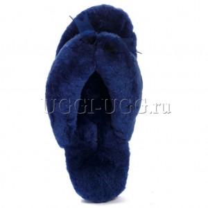 Тапочки угги шлепанцы синие UGG Fluff Flip Flop Navy