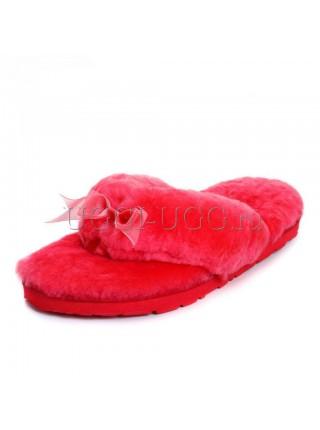 Тапочки угги шлепанцы красные UGG Fluff Flip Flop Tomato