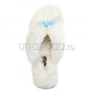 Тапочки угги шлепанцы белые UGG Fluff Flip Flop White