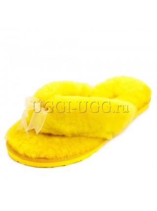 Тапочки угги шлепанцы желтые UGG Fluff Flip Flop Yellow