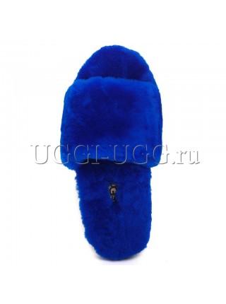 Тапочки угги открытые ярко-синие UGG Fluff Slide Electric Blue