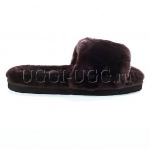 Тапочки угги открытые коричневые UGG Fluff Slide Chocolate
