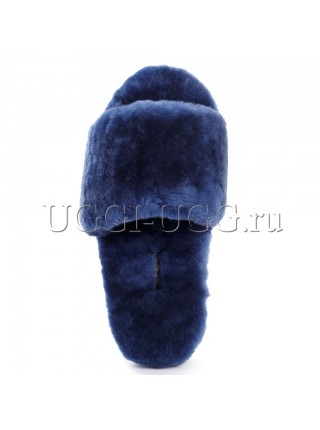Тапочки угги открытые синие UGG Fluff Slide Navy