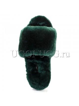 Тапочки угги открытые зеленые UGG Fluff Slide Dark Green