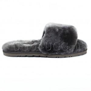 Тапочки угги открытые серые UGG Fluff Slide Grey