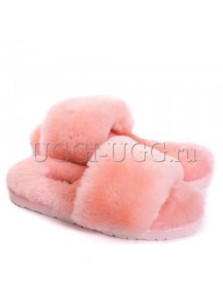 Тапочки угги открытые розовые UGG Fluff Slide Pink