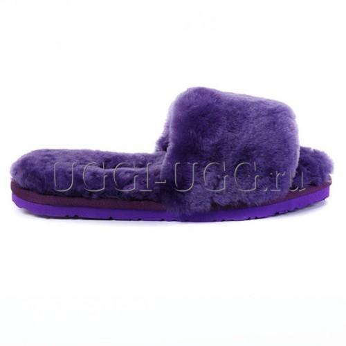 Тапочки угги открытые фиолетовые UGG Fluff Slide Violet
