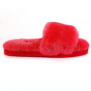 Тапочки угги открытые красные UGG Fluff Slide Watermelon Red