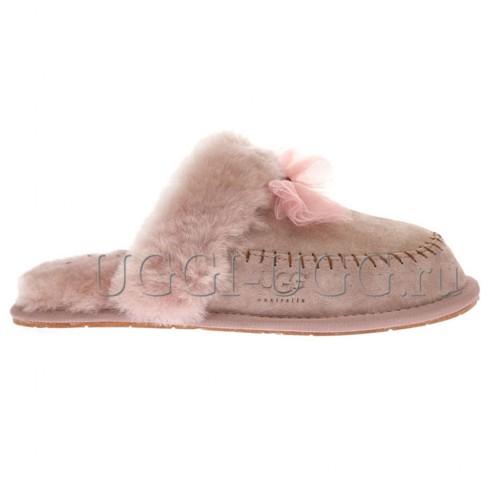 Тапочки угги розовые с бантиком UGG Slipper Hafnir Dusk