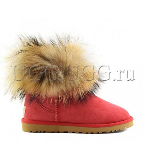 Угги с мехом лисы красные UGG Fox Fur Red