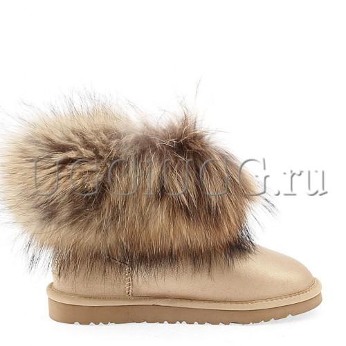 Угги с мехом лисы золотистые UGG Fox Fur Soft Gold