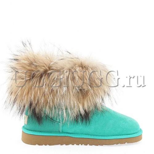 Угги с лисой светло-зеленые UGG Fox Fur Green