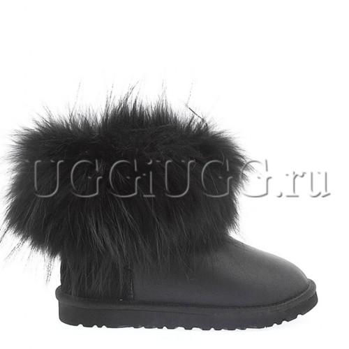 Угги с мехом чернобурки черные кожаные UGG Australia fox fur black