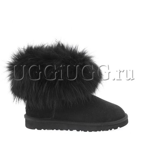 Женские угги с лисой черные UGG Fox Fur Only Black