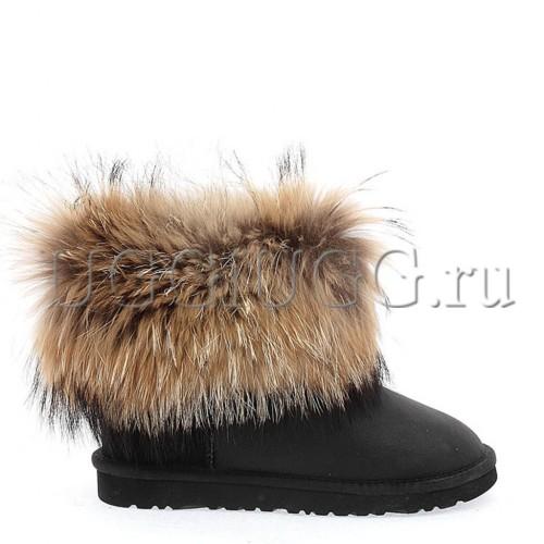 Женские угги с мехом лисы черные UGG Australia fox fur black