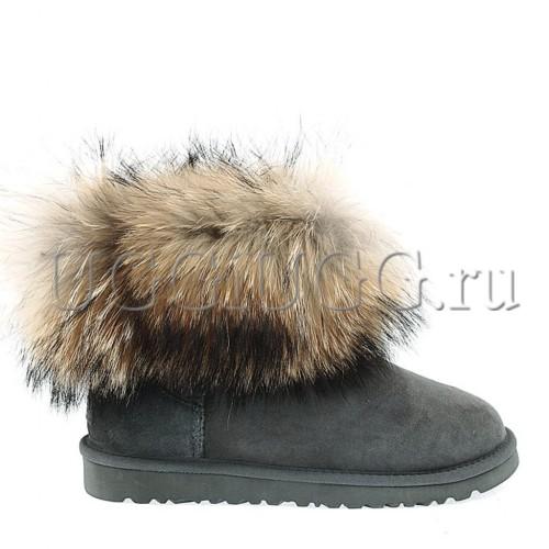 Угги с мехом лисы серые замшевые UGG Fox Fur Grey