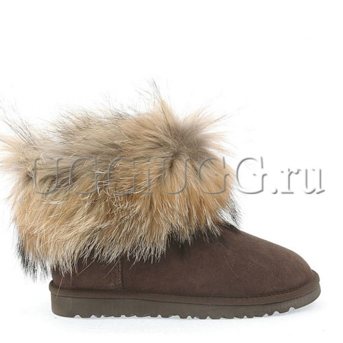 Женские угги с мехом лисы коричневые UGG Fox Fur Chocolate