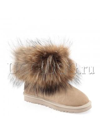 Угги с лисой бежевые UGG Australia Fox Fur Sand