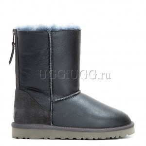 Угги с молнией серые обливные UGG Short Zip Metallic Grey