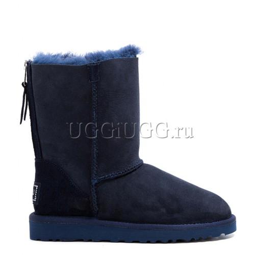 Короткие угги с молнией синие UGG Short Zip Navy