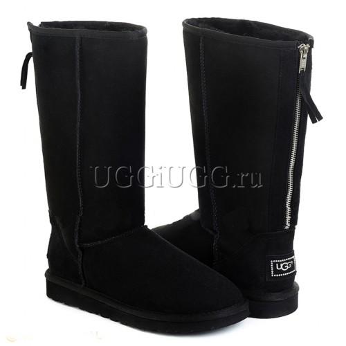 Высокие угги с молнией сзади черные UGG Tall Zip Black