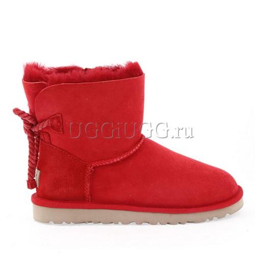 Мини угги с шнурком сзади красные UGG Mini Selene Red