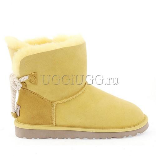 Мини угги с шнурком сзади желтые UGG Mini Selene Yellow