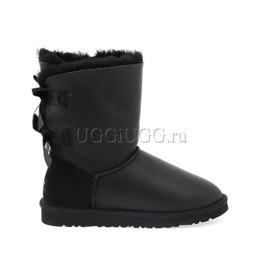 Черные обливные угги с лентой сзади UGG Bailey Bow Metallic Black