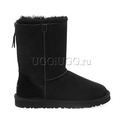 Женские угги с молнией черные UGG Short Zip Black