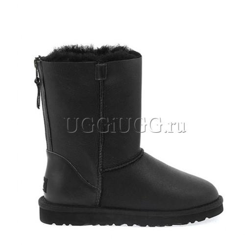 UGG Short Zip Leather Black