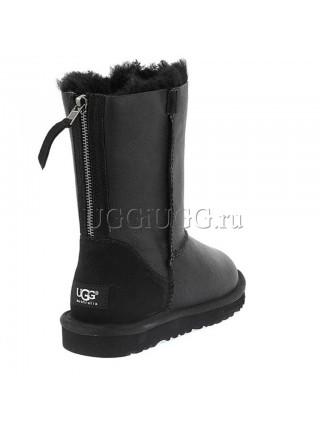 Угги с молнией черные обливные UGG Short Zip Metallic Black