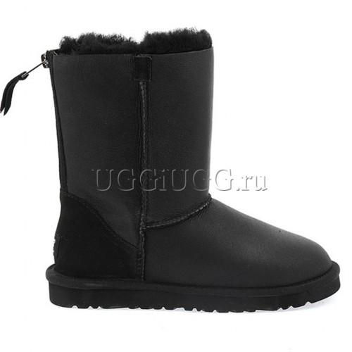 Черные угги с молнией обливные UGG Short Zip Metallic Black