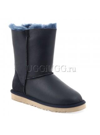 Угги с молнией кожаные UGG Short Zip Metallic Blue