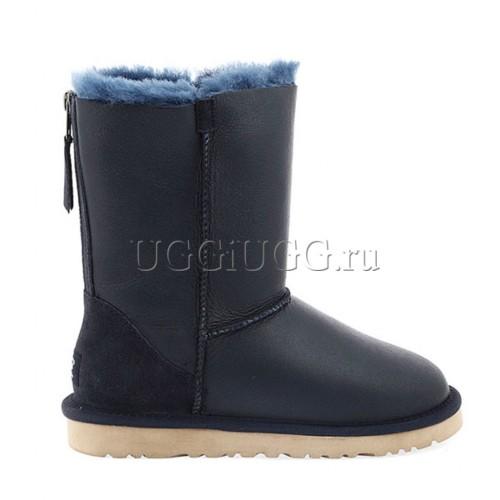 Женские угги с молнией кожаные UGG Short Zip Metallic Blue