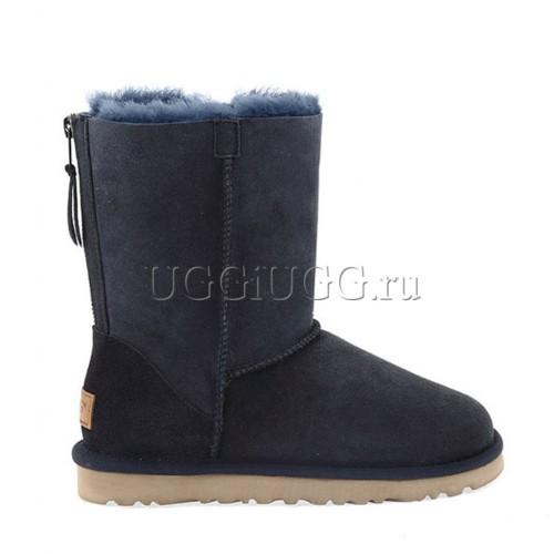 Женские угги с молнией синие UGG Short Zip Blue