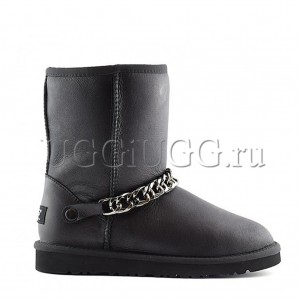 Женские черные угги с цепочкой UGG Zanotti Classic Short Black